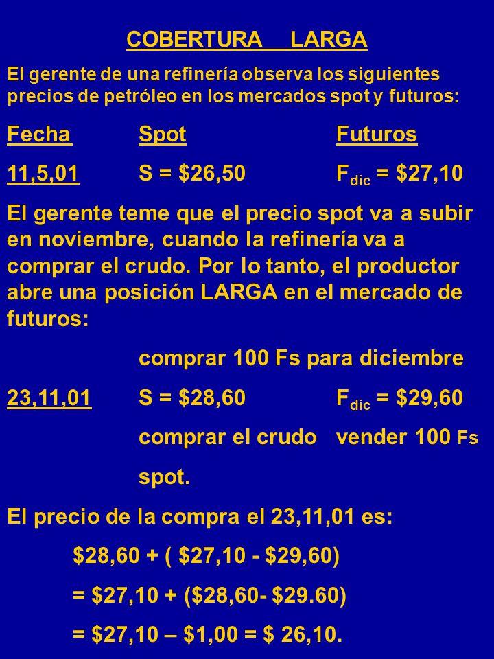 COBERTURA CORTA Un productor de oro observa los siguientes precios en los mercados spot y futuros: FechaSpotFuturos 11,5,01S = $275F dic = $29050 El p
