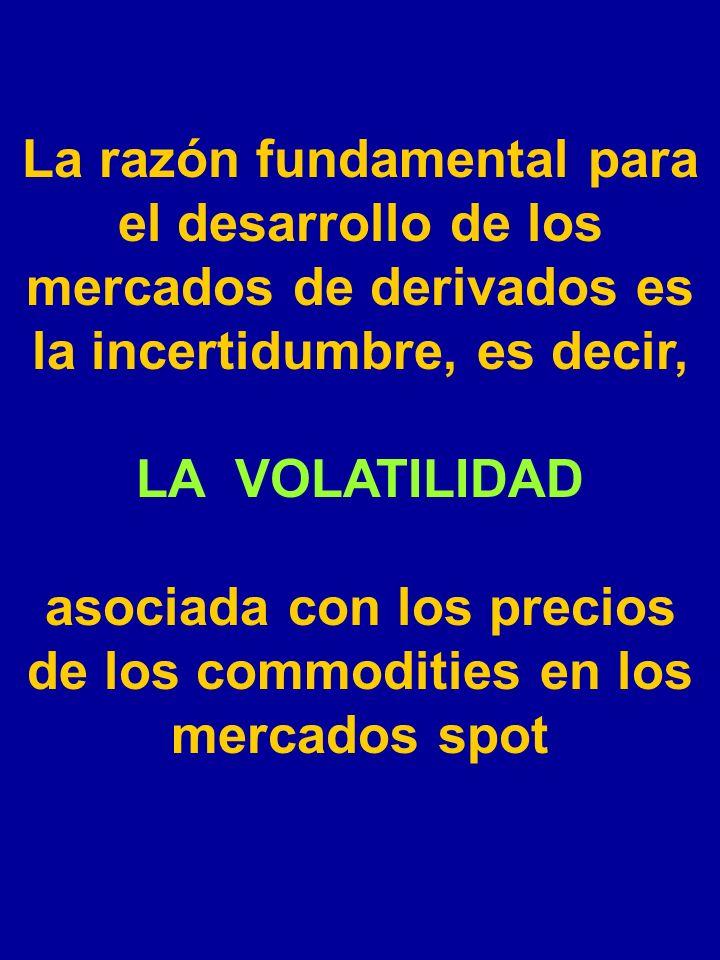 La razón fundamental para el desarrollo de los mercados de derivados es la incertidumbre, es decir, LA VOLATILIDAD asociada con los precios de los commodities en los mercados spot