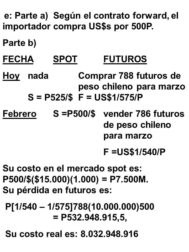d: Parte a) Según el contrato forward, el importador compra US$s por 500P. Parte b) FECHASPOTFUTUROS Hoy HoynadaVender 788 futuros de S = US$1/525/Ppe