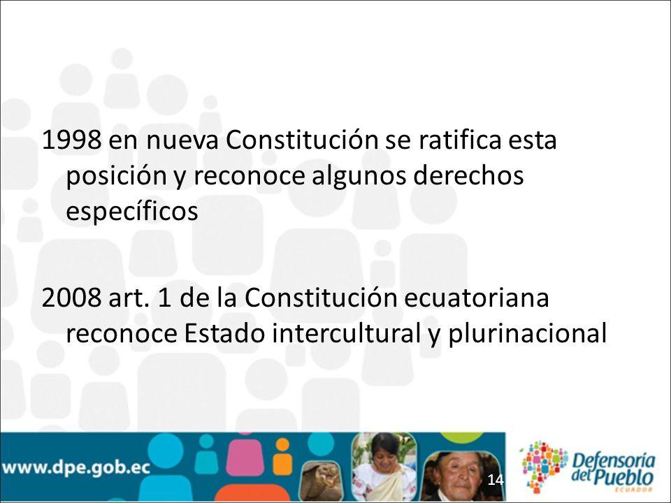 14 1998 en nueva Constitución se ratifica esta posición y reconoce algunos derechos específicos 2008 art. 1 de la Constitución ecuatoriana reconoce Es