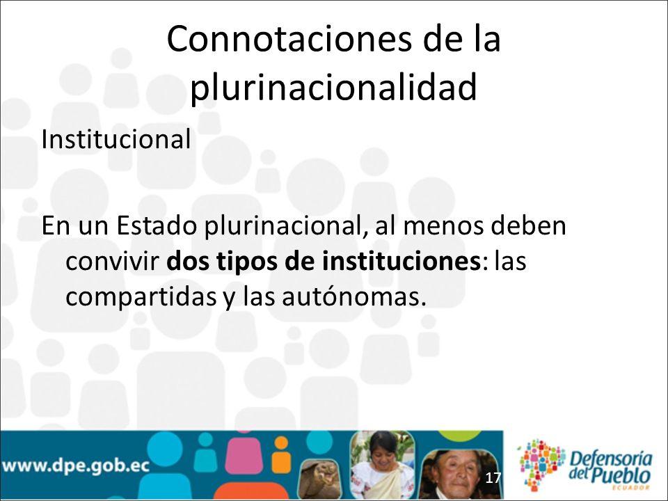 17 Institucional En un Estado plurinacional, al menos deben convivir dos tipos de instituciones: las compartidas y las autónomas.