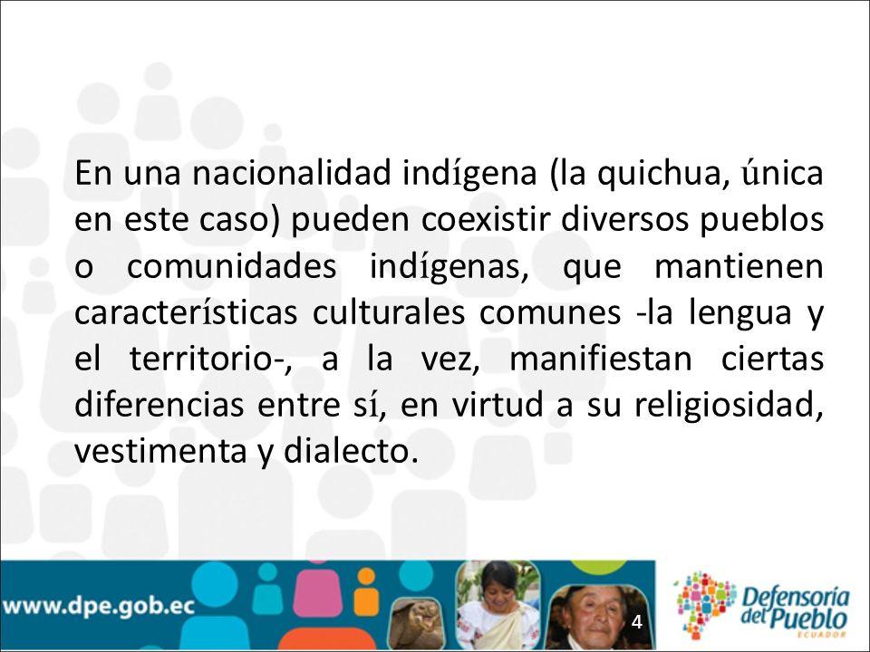 4 En una nacionalidad ind í gena (la quichua, ú nica en este caso) pueden coexistir diversos pueblos o comunidades ind í genas, que mantienen caracter