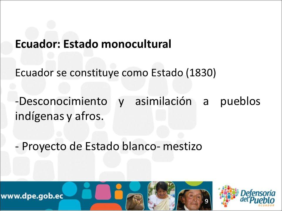 9 Ecuador: Estado monocultural Ecuador se constituye como Estado (1830) -Desconocimiento y asimilación a pueblos indígenas y afros. - Proyecto de Esta