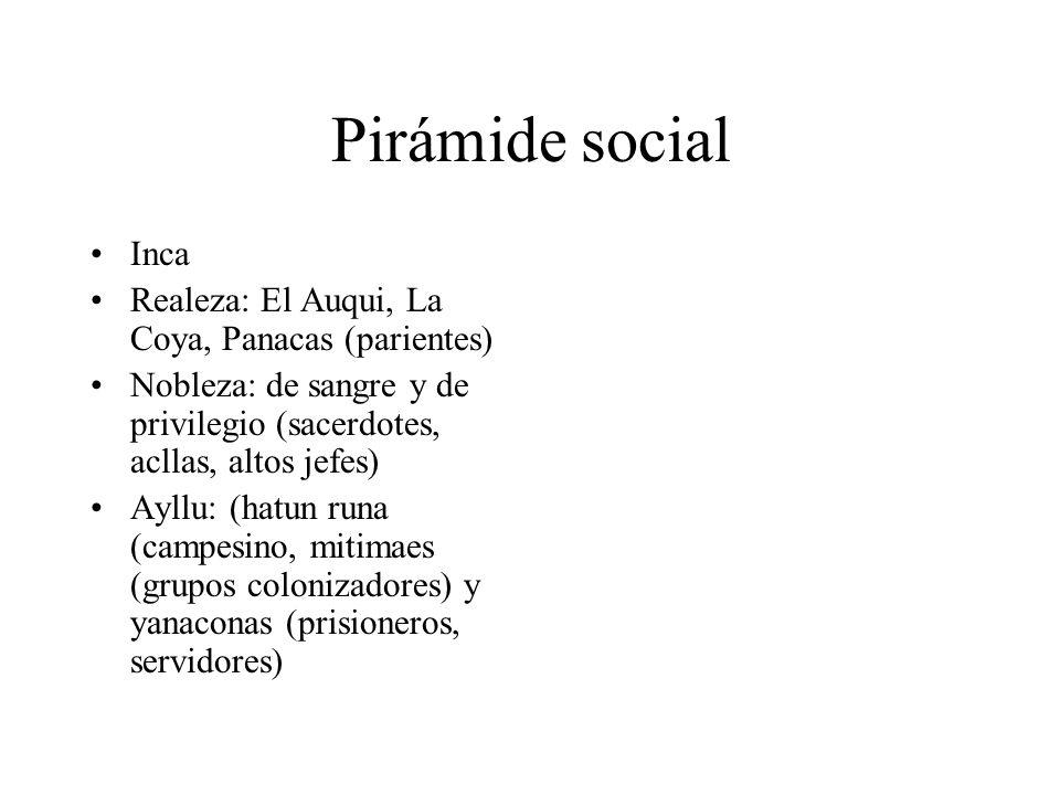 Pirámide social Inca Realeza: El Auqui, La Coya, Panacas (parientes) Nobleza: de sangre y de privilegio (sacerdotes, acllas, altos jefes) Ayllu: (hatun runa (campesino, mitimaes (grupos colonizadores) y yanaconas (prisioneros, servidores)