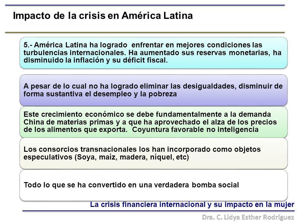 Impacto de la crisis en América Latina A pesar de lo cual no ha logrado eliminar las desigualdades, disminuir de forma sustantiva el desempleo y la pobreza 5.- América Latina ha logrado enfrentar en mejores condiciones las turbulencias internacionales.