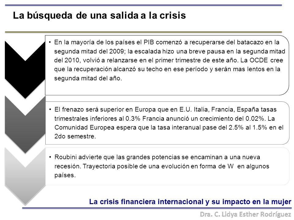 La búsqueda de una salida a la crisis En la mayoría de los países el PIB comenzó a recuperarse del batacazo en la segunda mitad del 2009; la escalada hizo una breve pausa en la segunda mitad del 2010, volvió a relanzarse en el primer trimestre de este año.