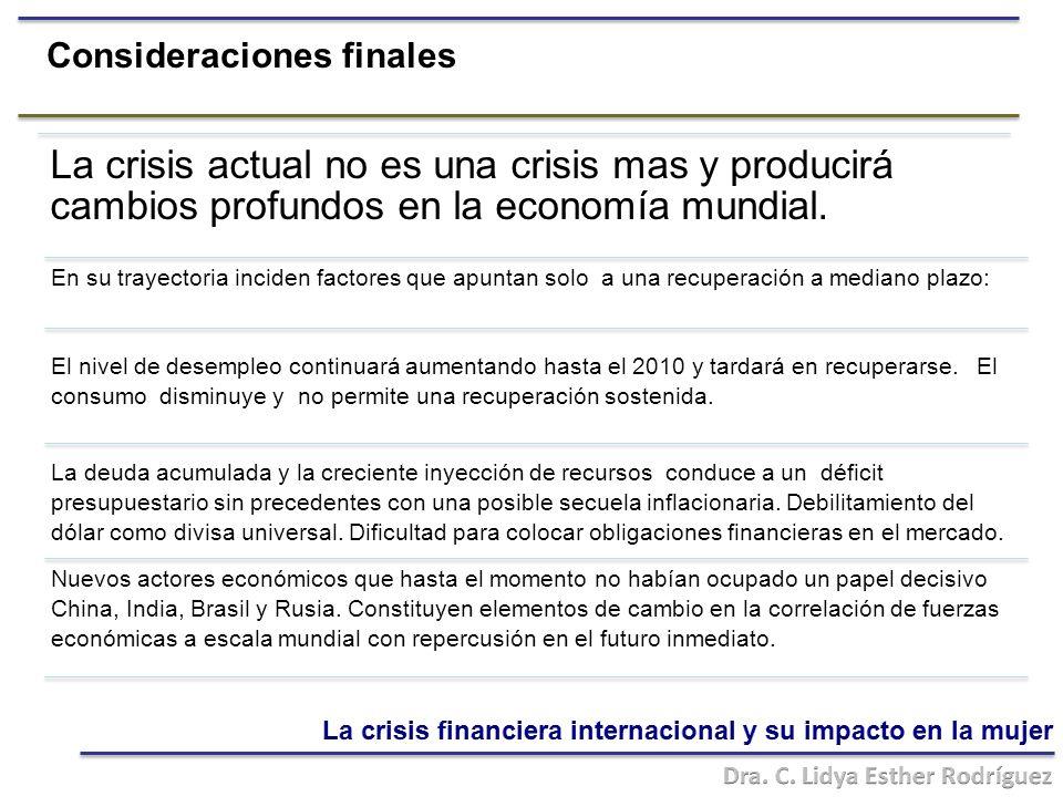 Consideraciones finales La crisis actual no es una crisis mas y producirá cambios profundos en la economía mundial.