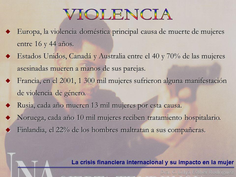 Europa, Europa, la violencia doméstica principal causa de muerte de mujeres entre 16 y 44 años.