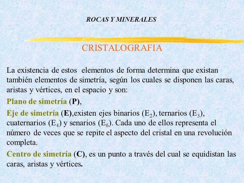 ROCAS Y MINERALES CRISTALOGRAFIA La existencia de estos elementos de forma determina que existan también elementos de simetría, según los cuales se disponen las caras, aristas y vértices, en el espacio y son: Plano de simetría (P), Eje de simetría (E),existen ejes binarios (E 2 ), ternarios (E 3 ), cuaternarios (E 4 ) y senarios (E 6 ).