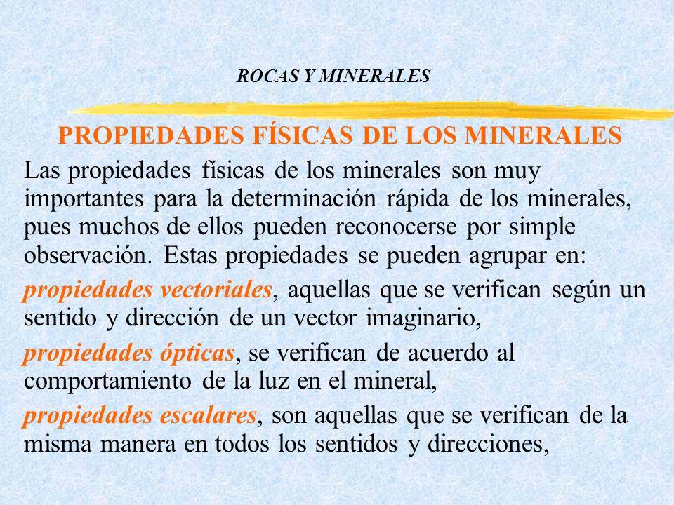 ROCAS Y MINERALES PROPIEDADES FÍSICAS DE LOS MINERALES Las propiedades físicas de los minerales son muy importantes para la determinación rápida de los minerales, pues muchos de ellos pueden reconocerse por simple observación.