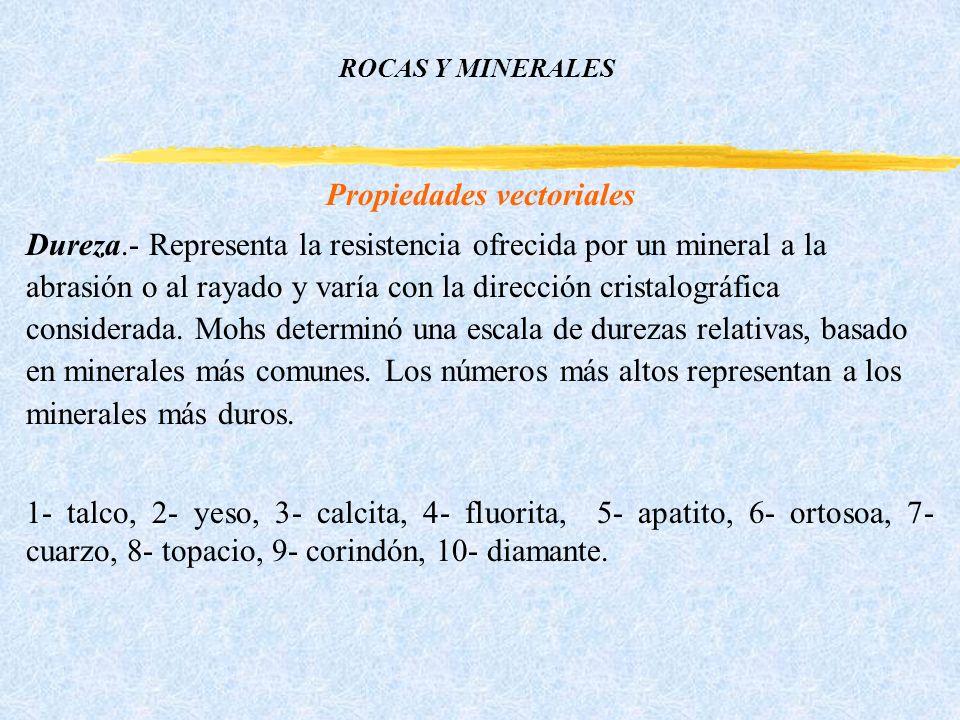 ROCAS Y MINERALES Propiedades vectoriales Dureza.- Representa la resistencia ofrecida por un mineral a la abrasión o al rayado y varía con la dirección cristalográfica considerada.