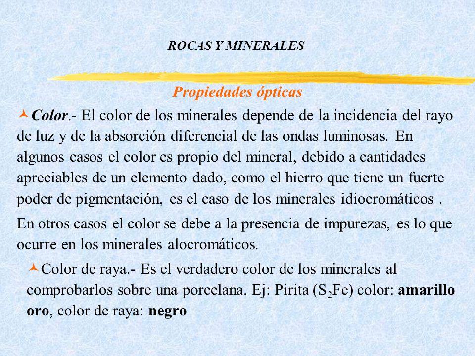 ROCAS Y MINERALES Propiedades ópticas ©Color.- El color de los minerales depende de la incidencia del rayo de luz y de la absorción diferencial de las ondas luminosas.