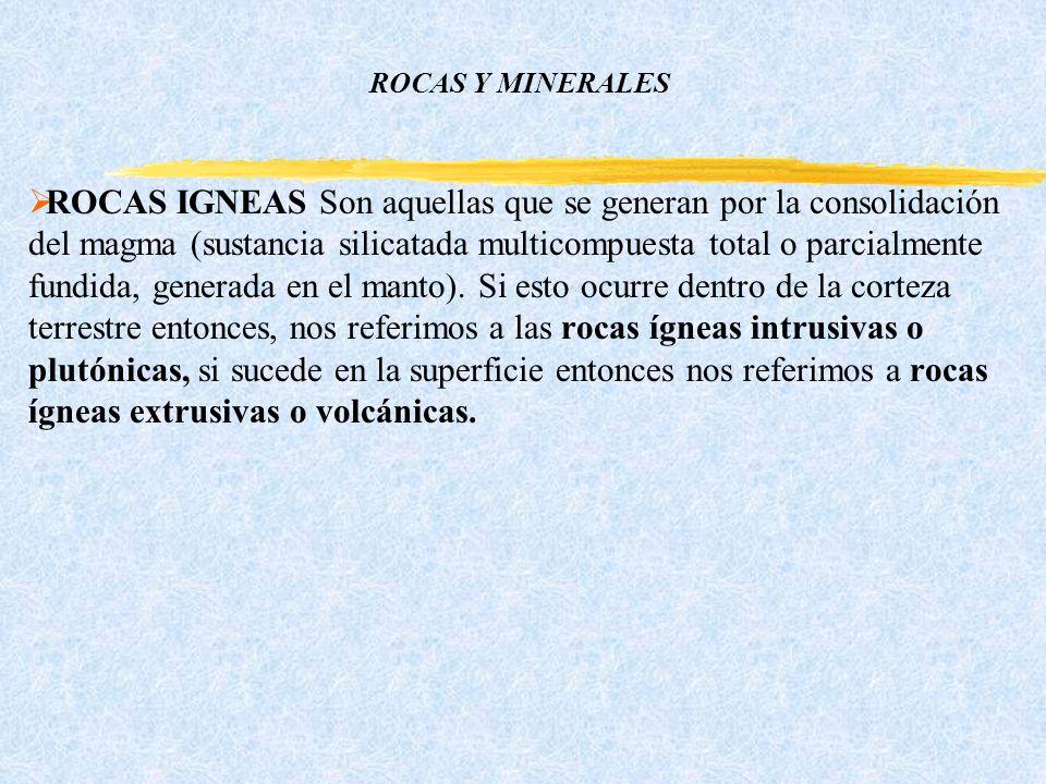 ROCAS Y MINERALES ROCAS IGNEAS Son aquellas que se generan por la consolidación del magma (sustancia silicatada multicompuesta total o parcialmente fundida, generada en el manto).