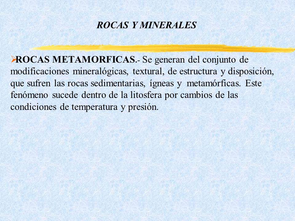 ROCAS Y MINERALES ROCAS METAMORFICAS.- Se generan del conjunto de modificaciones mineralógicas, textural, de estructura y disposición, que sufren las rocas sedimentarias, ígneas y metamórficas.