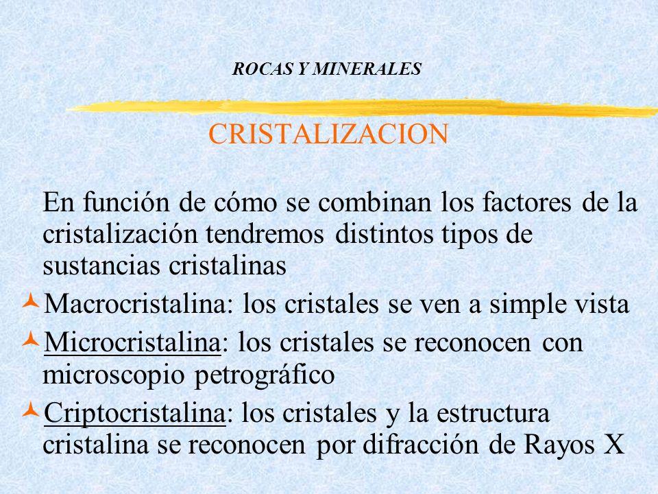 ROCAS Y MINERALES CRISTALIZACION En función de cómo se combinan los factores de la cristalización tendremos distintos tipos de sustancias cristalinas ©Macrocristalina: los cristales se ven a simple vista ©Microcristalina: los cristales se reconocen con microscopio petrográfico ©Criptocristalina: los cristales y la estructura cristalina se reconocen por difracción de Rayos X