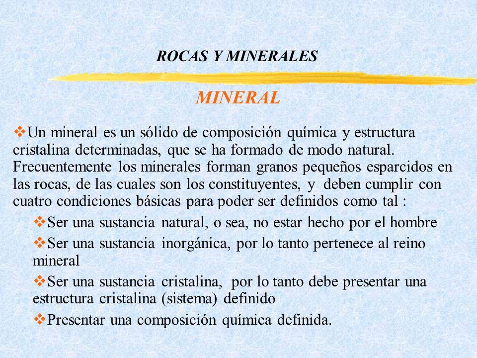 ROCAS Y MINERALES MINERAL Un mineral es un sólido de composición química y estructura cristalina determinadas, que se ha formado de modo natural.