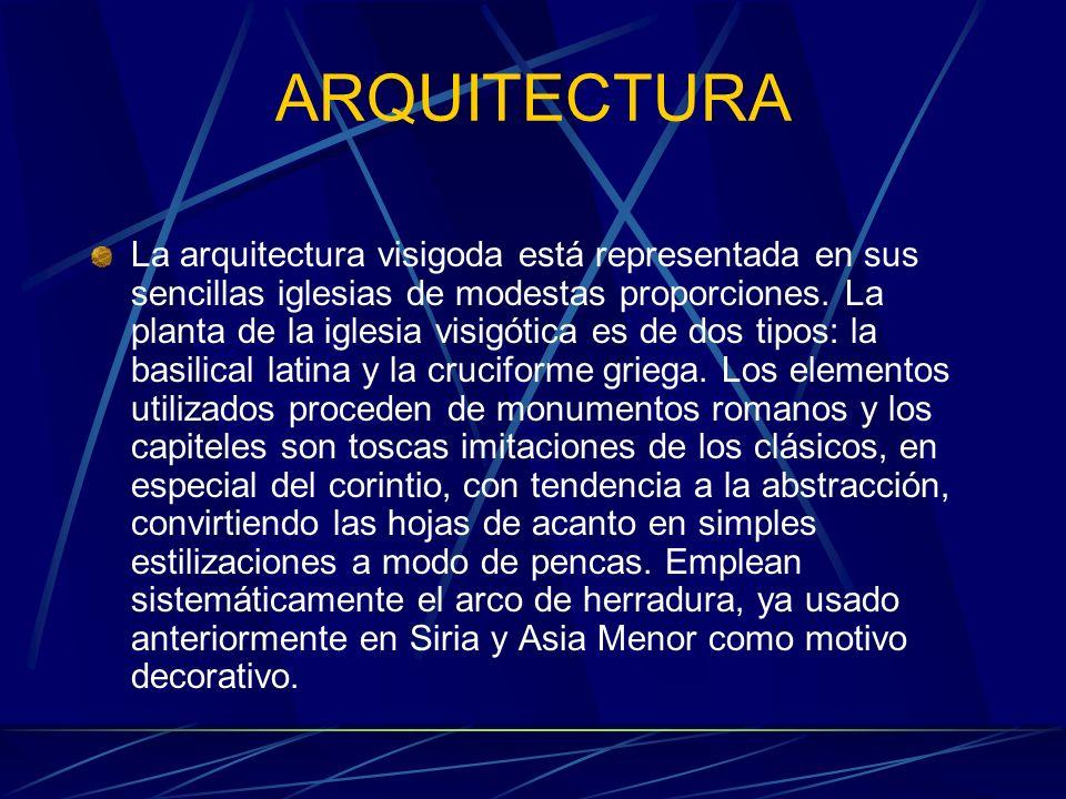 ARQUITECTURA La arquitectura visigoda está representada en sus sencillas iglesias de modestas proporciones. La planta de la iglesia visigótica es de d