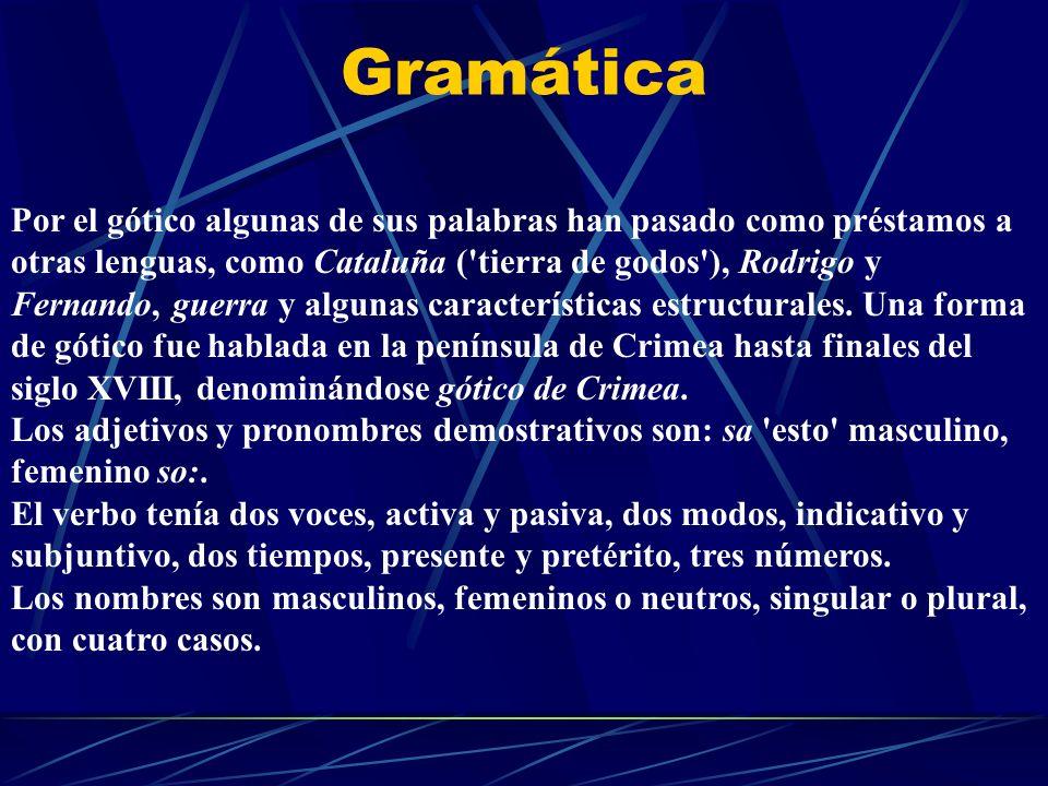 Gramática Por el gótico algunas de sus palabras han pasado como préstamos a otras lenguas, como Cataluña ('tierra de godos'), Rodrigo y Fernando, guer