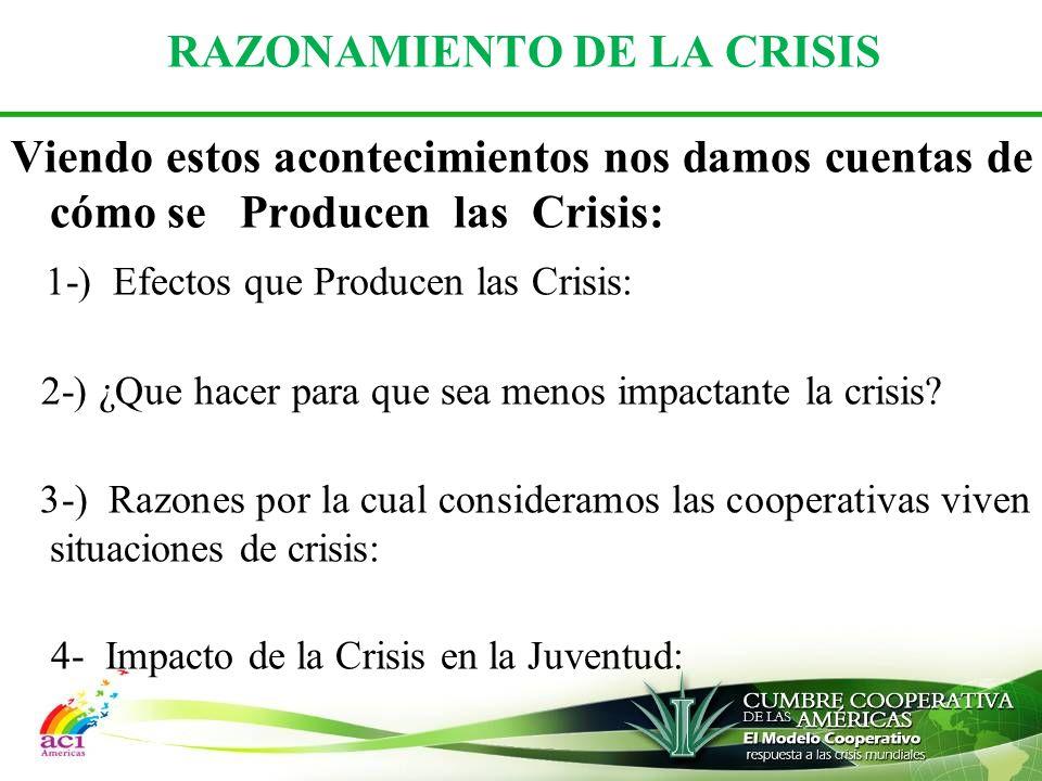 RAZONAMIENTO DE LA CRISIS Viendo estos acontecimientos nos damos cuentas de cómo se Producen las Crisis: 1-) Efectos que Producen las Crisis: 2-) ¿Que hacer para que sea menos impactante la crisis.