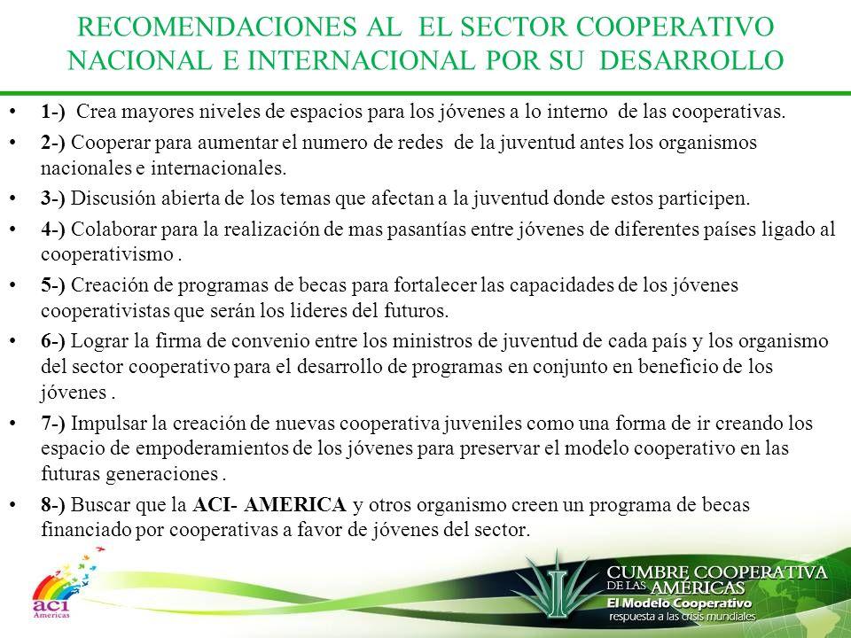 RECOMENDACIONES AL EL SECTOR COOPERATIVO NACIONAL E INTERNACIONAL POR SU DESARROLLO 1-) Crea mayores niveles de espacios para los jóvenes a lo interno de las cooperativas.