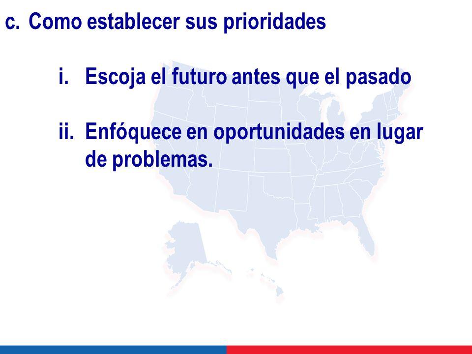 c.Como establecer sus prioridades i.Escoja el futuro antes que el pasado ii.Enfóquece en oportunidades en lugar de problemas.