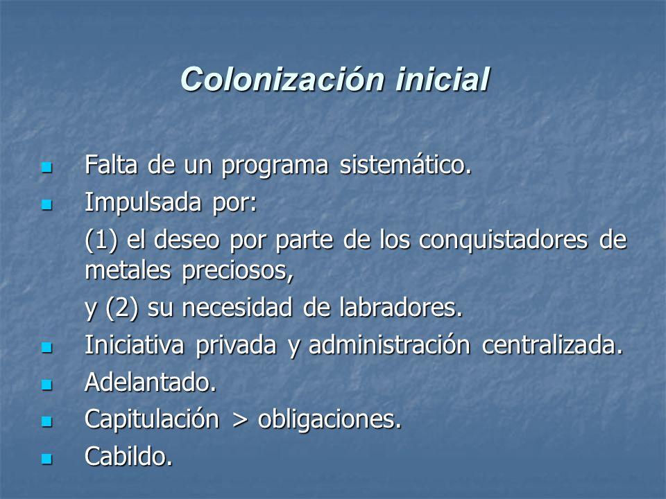 Colonización inicial Falta de un programa sistemático.