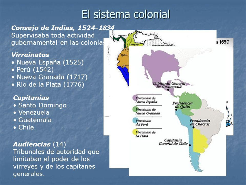 El sistema colonial Virreinatos Nueva España (1525) Perú (1542) Nueva Granada (1717) Río de la Plata (1776) Audiencias (14) Tribunales de autoridad que limitaban el poder de los virreyes y de los capitanes generales.