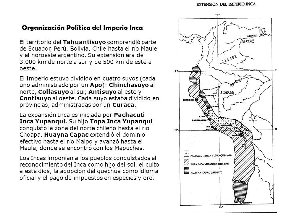 El territorio del Tahuantisuyo comprendió parte de Ecuador, Perú, Bolivia, Chile hasta el río Maule y el noroeste argentino. Su extensión era de 3.000