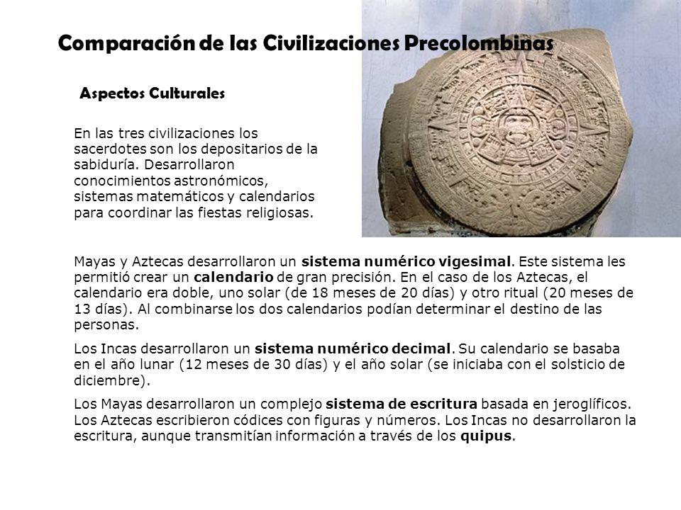 Comparación de las Civilizaciones Precolombinas Aspectos Culturales En las tres civilizaciones los sacerdotes son los depositarios de la sabiduría. De