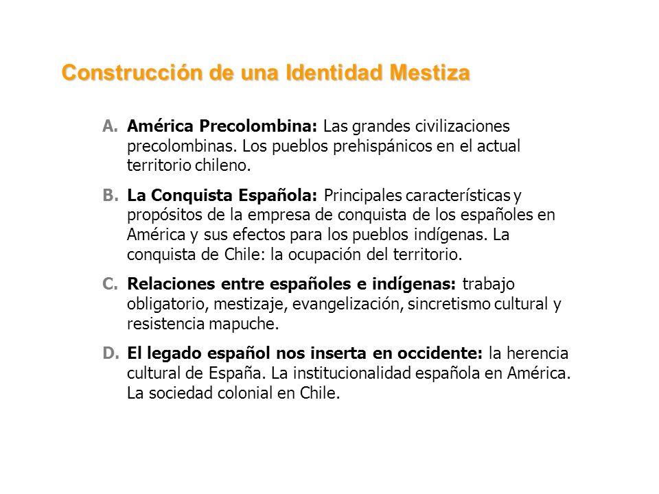 A.América Precolombina: Las grandes civilizaciones precolombinas. Los pueblos prehispánicos en el actual territorio chileno. B.La Conquista Española: