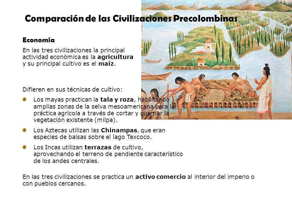 Comparación de las Civilizaciones Precolombinas Economía Difieren en sus técnicas de cultivo: Los mayas practican la tala y roza, habilitando amplias