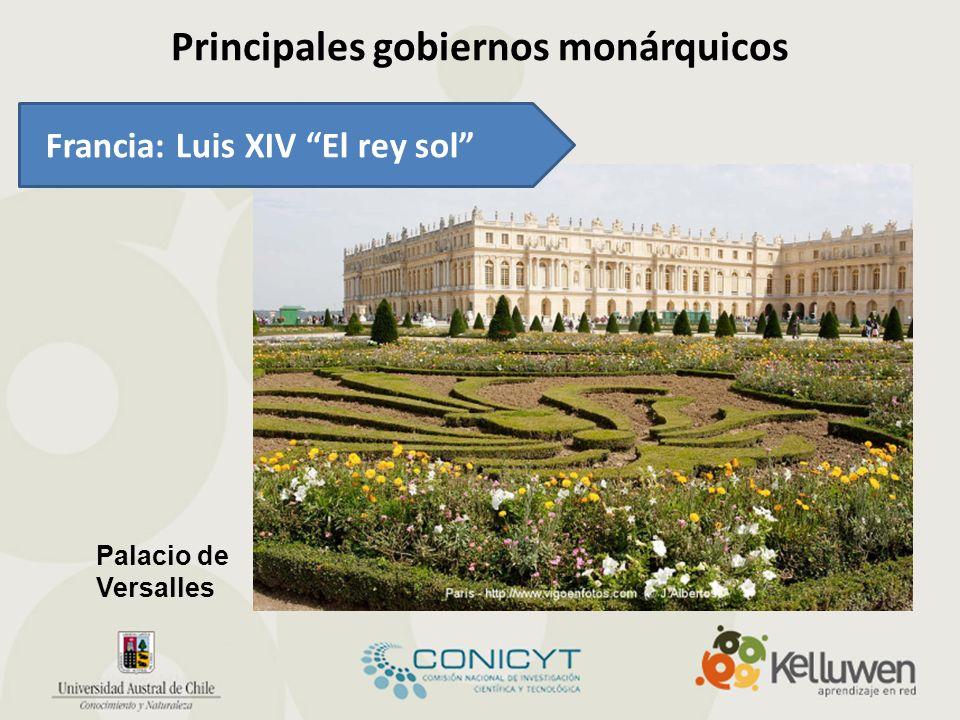 Principales gobiernos monárquicos Palacio de Versalles Francia: Luis XIV El rey sol