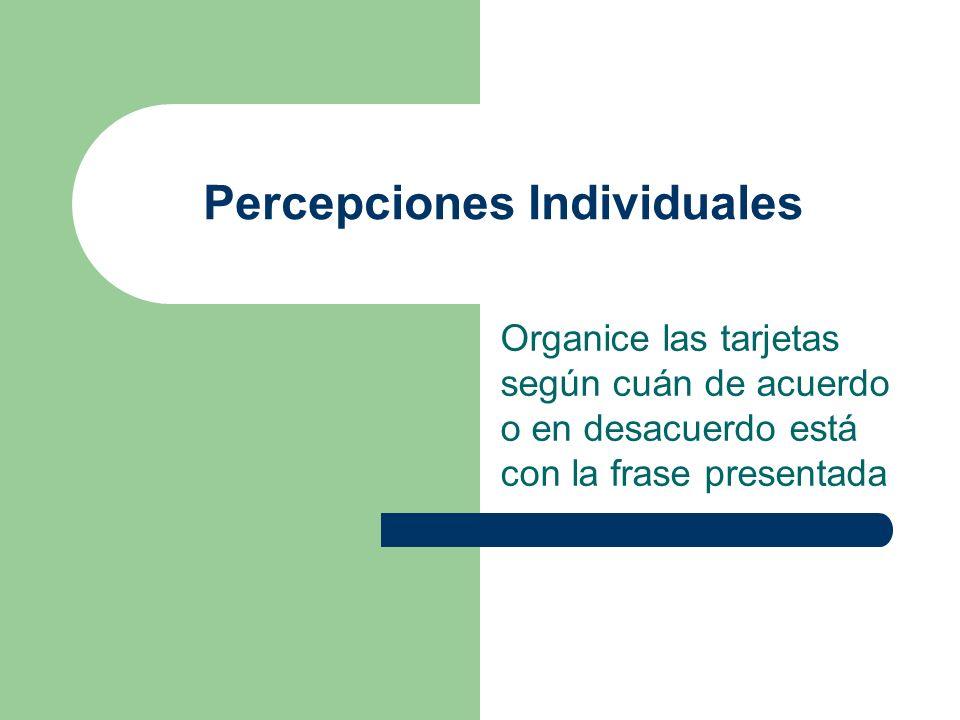 Organice las tarjetas según cuán de acuerdo o en desacuerdo está con la frase presentada Percepciones Individuales
