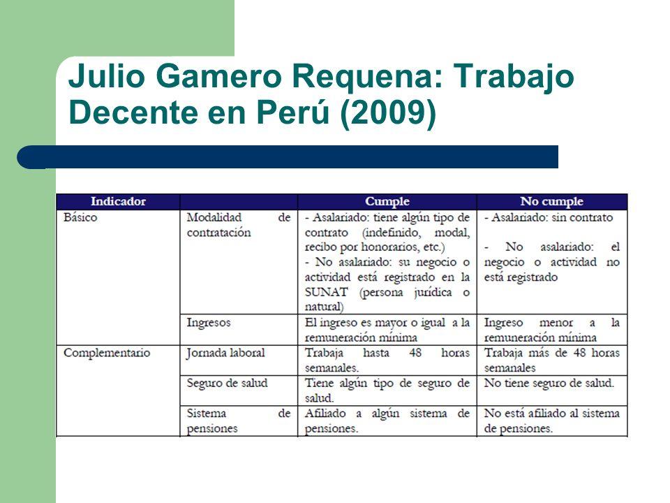 Julio Gamero Requena: Trabajo Decente en Perú (2009)