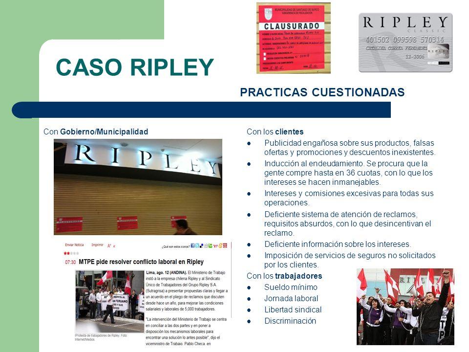 CASO RIPLEY PRACTICAS CUESTIONADAS Con los clientes Publicidad engañosa sobre sus productos, falsas ofertas y promociones y descuentos inexistentes. I