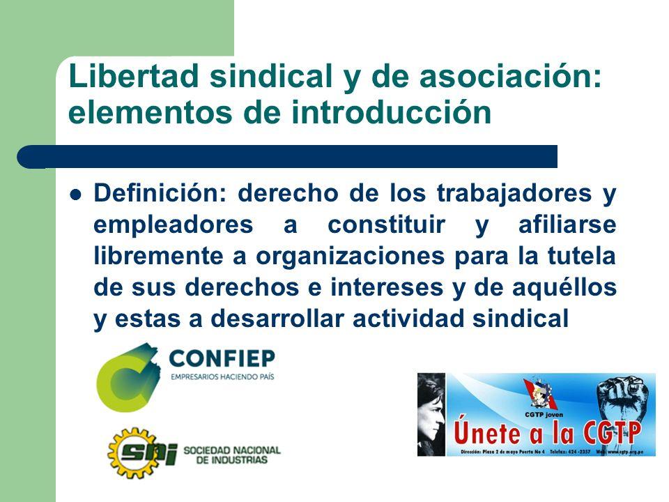 Libertad sindical y de asociación: elementos de introducción Definición: derecho de los trabajadores y empleadores a constituir y afiliarse libremente