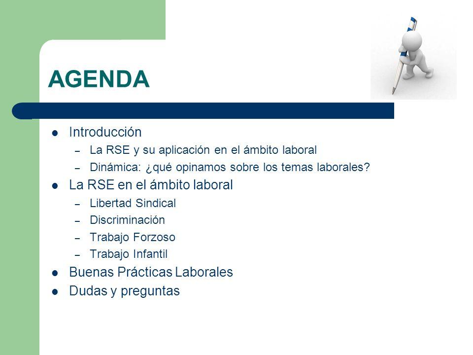 AGENDA Introducción – La RSE y su aplicación en el ámbito laboral – Dinámica: ¿qué opinamos sobre los temas laborales? La RSE en el ámbito laboral – L