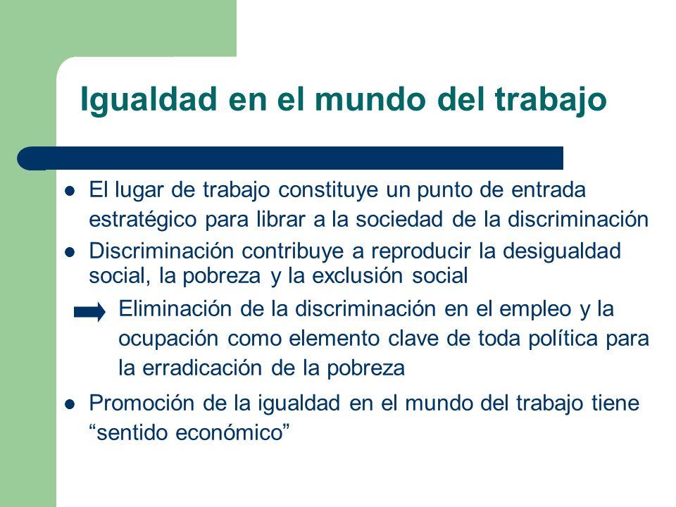 Igualdad en el mundo del trabajo El lugar de trabajo constituye un punto de entrada estratégico para librar a la sociedad de la discriminación Discrim