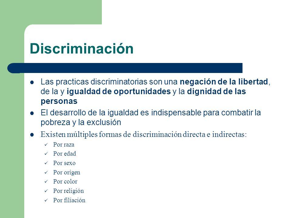Discriminación Las practicas discriminatorias son una negación de la libertad, de la y igualdad de oportunidades y la dignidad de las personas El desa
