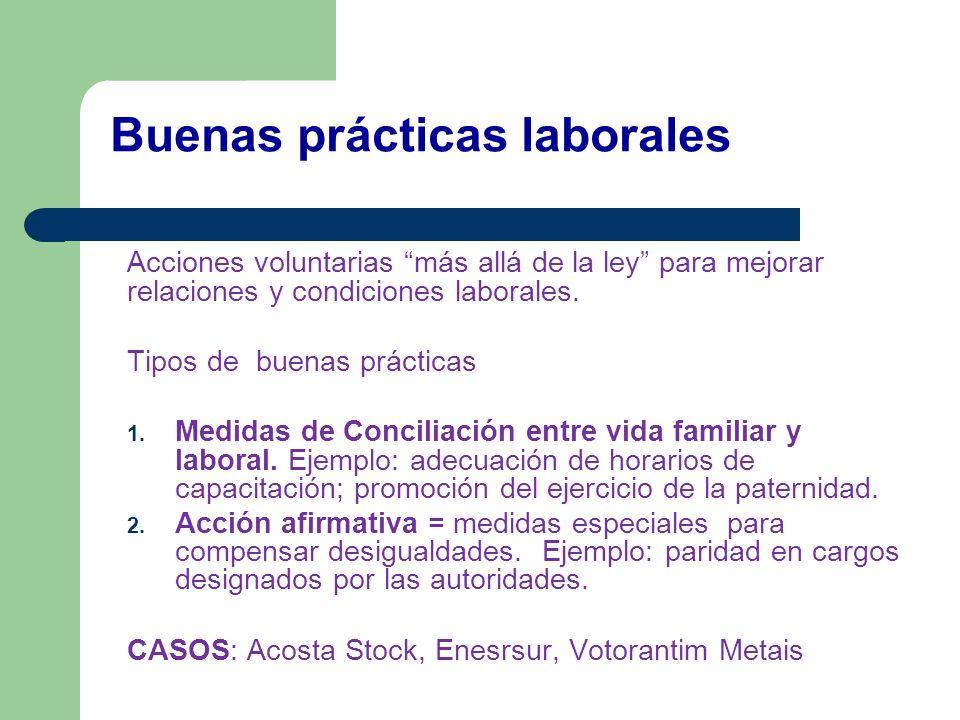 Buenas prácticas laborales Acciones voluntarias más allá de la ley para mejorar relaciones y condiciones laborales. Tipos de buenas prácticas 1. Medid