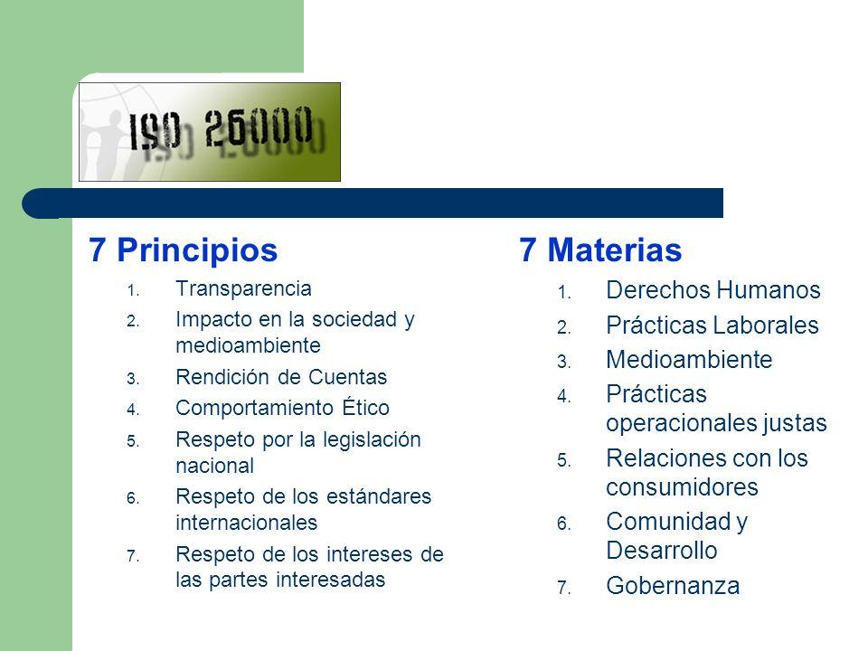 7 Principios 1. Transparencia 2. Impacto en la sociedad y medioambiente 3. Rendición de Cuentas 4. Comportamiento Ético 5. Respeto por la legislación