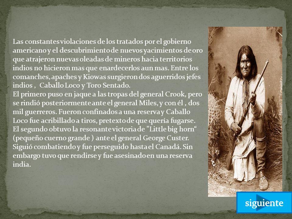 Las constantes violaciones de los tratados por el gobierno americano y el descubrimiento de nuevos yacimientos de oro que atrajeron nuevas oleadas de