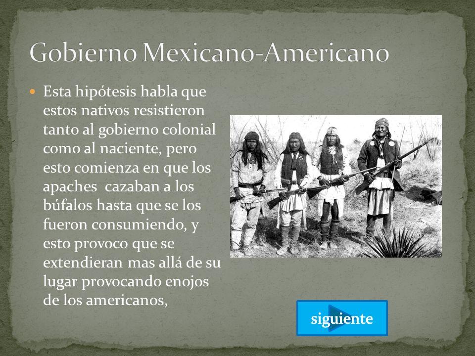 Esta hipótesis habla que estos nativos resistieron tanto al gobierno colonial como al naciente, pero esto comienza en que los apaches cazaban a los bú