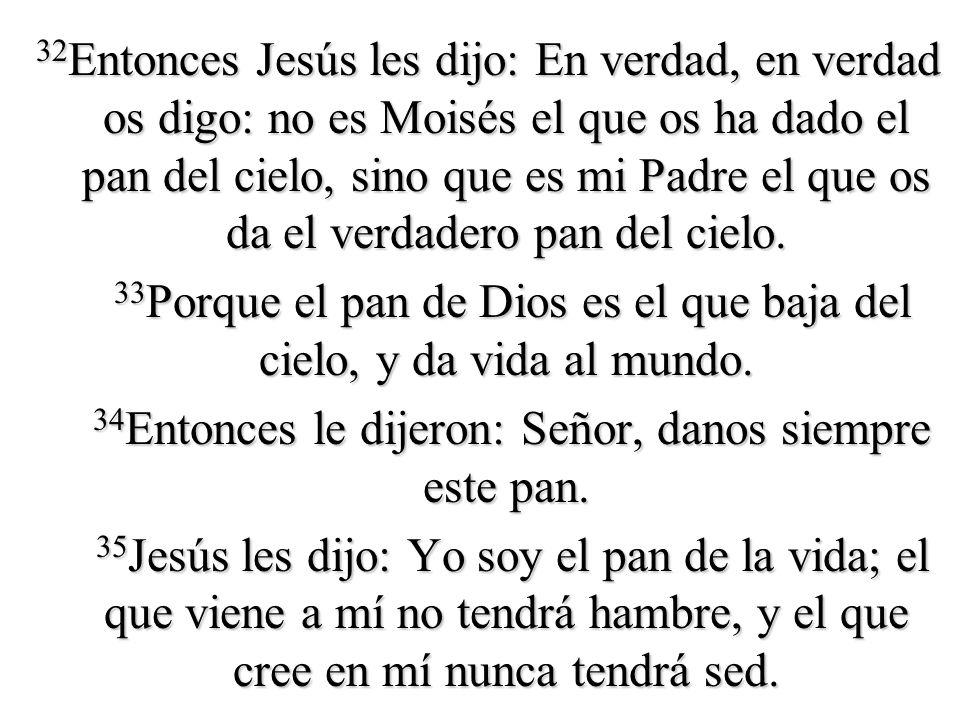 32 Entonces Jesús les dijo: En verdad, en verdad os digo: no es Moisés el que os ha dado el pan del cielo, sino que es mi Padre el que os da el verdad