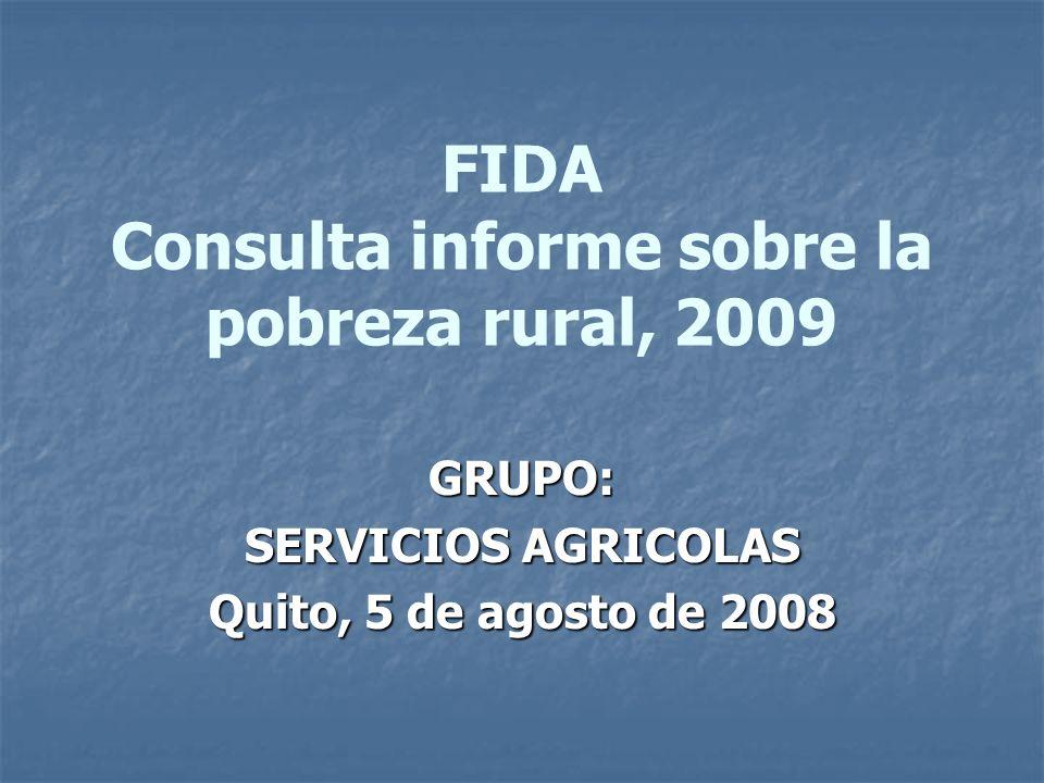 FIDA Consulta informe sobre la pobreza rural, 2009 GRUPO: SERVICIOS AGRICOLAS Quito, 5 de agosto de 2008