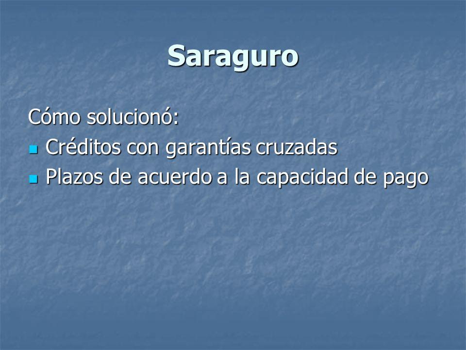 Saraguro Cómo solucionó: Créditos con garantías cruzadas Créditos con garantías cruzadas Plazos de acuerdo a la capacidad de pago Plazos de acuerdo a la capacidad de pago