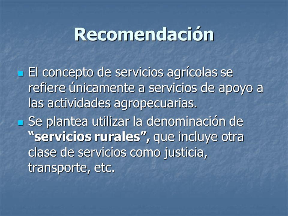 Recomendación El concepto de servicios agrícolas se refiere únicamente a servicios de apoyo a las actividades agropecuarias.