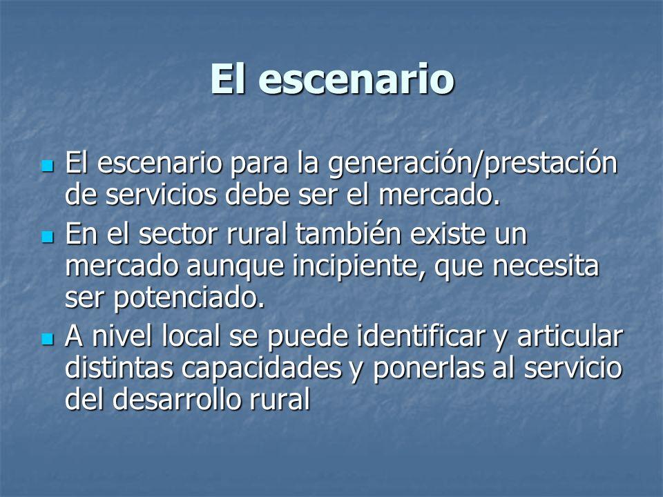 El escenario El escenario para la generación/prestación de servicios debe ser el mercado.