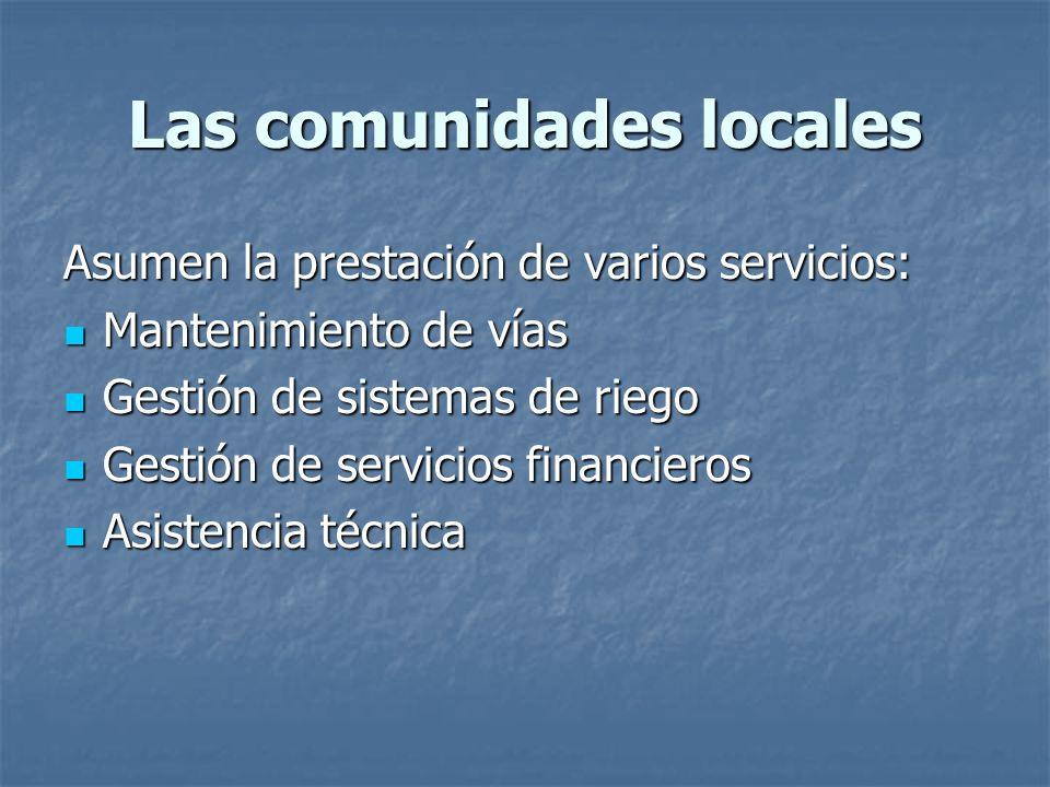 Las comunidades locales Asumen la prestación de varios servicios: Mantenimiento de vías Mantenimiento de vías Gestión de sistemas de riego Gestión de sistemas de riego Gestión de servicios financieros Gestión de servicios financieros Asistencia técnica Asistencia técnica