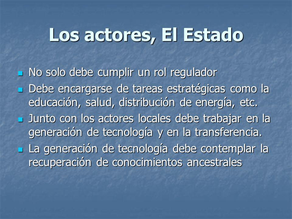 Los actores, El Estado No solo debe cumplir un rol regulador No solo debe cumplir un rol regulador Debe encargarse de tareas estratégicas como la educación, salud, distribución de energía, etc.